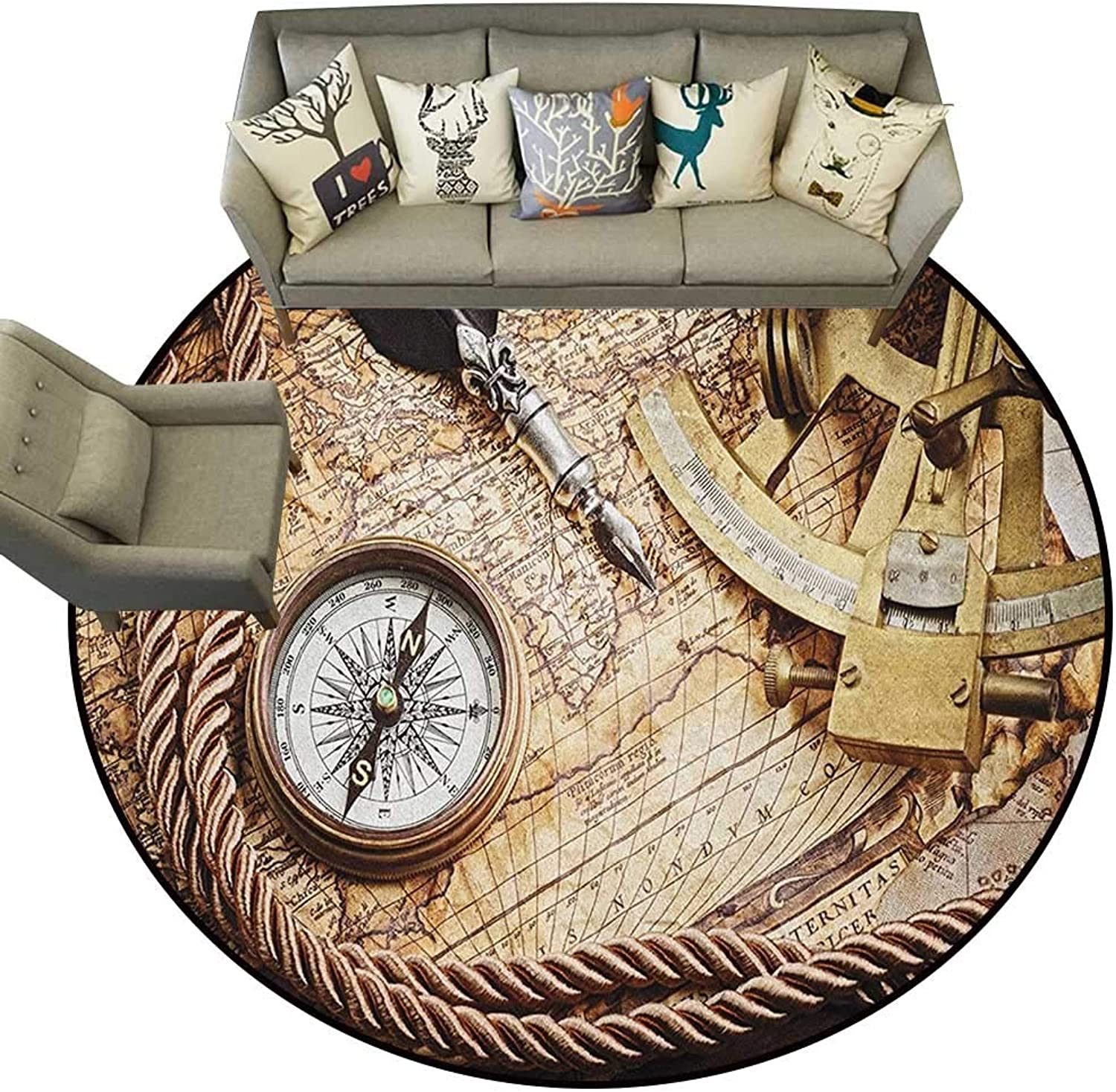 Compass,Personalized Floor mats Vintage Navigation Voyage Theme Lifestyle Image with Sextant and Compass Discovery Tools D48 Floor Mat Entrance Doormat