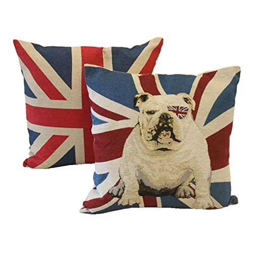 Queenie® - 2 Pcs of National Flag Tapestry Polyester Cushion Cover Decorative Throw Pillow Case