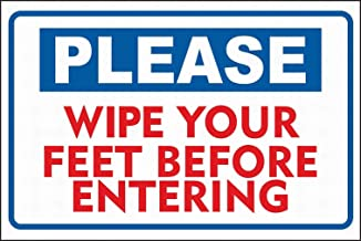 PaBoe Notice Sign Safety Tin Metal Sign 8x12 Please Wipe Your feet Before Entering Sign Warning Reminder Wall Decor