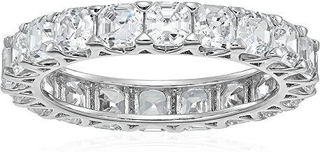 Platinum-Plated Sterling Silver Swarovski Zirconia Asscher-cut All-Around Band Ring
