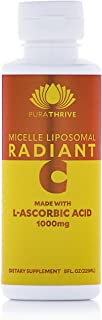 PuraTHRIVE Micelle Liposomal Vitamin C Radiant Liquid Supplement, Contains Non-GMO Sunflower Oil, Citrus Oil, Vanilla, 8 O...