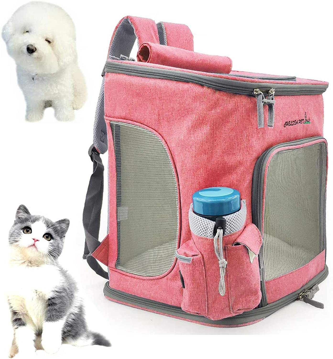 OLDWANG Pet Carrier Backpack with Shoulder Strap Dog Carrier Backpack Carrier Backpack for Small Cats and Dogs Puppies Breathable Bag Fully Ventilated Veterinarian Approved 7.5KgPink