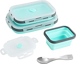 Set of 3 Rectangle Collapsible Silicone food Container With Airtight Lids, BPA Free, Microwave, Freezer and Dishwasher Safe, Collapsible Food containers - Saving space, No More Cluttered Cabinet