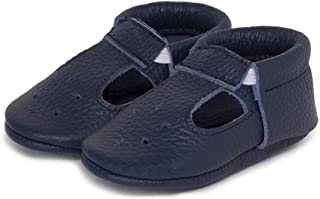 LittleBeMocs T-Strap Baby Moccasins (Italian Leather) Soft Sole Shoes for Boys and Girls   Infants, Babies, Toddlers