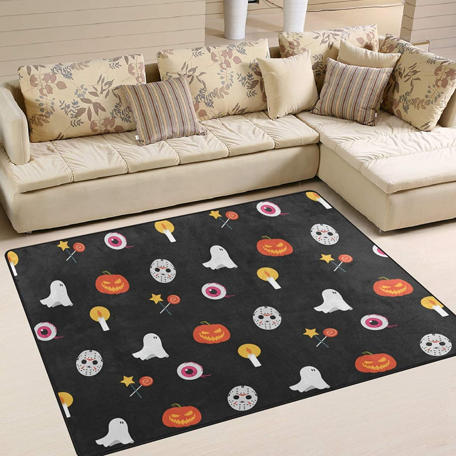 Halloween Pumpkin Ghost Mask Area Rugs 80 x 58 Inch Door Mats Indoor Polyester Non Slip Multi Rectangle Carpet Kitchen Floor Runner Decoration for Home Bedroom Living Dining Room
