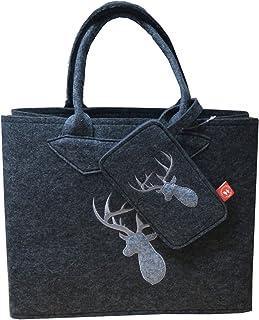 Witzgall Filztasche grau mit Hirschkopf und Handytasche 38x20x30 cm Trachtentasche