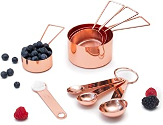 Copper Measuring Cups and Spoons Set - Metal Measuring Cups and Spoons Set - Stackable, Stylish, Sturdy Stainless Steel (8-Piece) - Rose Gold Measuring Cups and Spoons Set