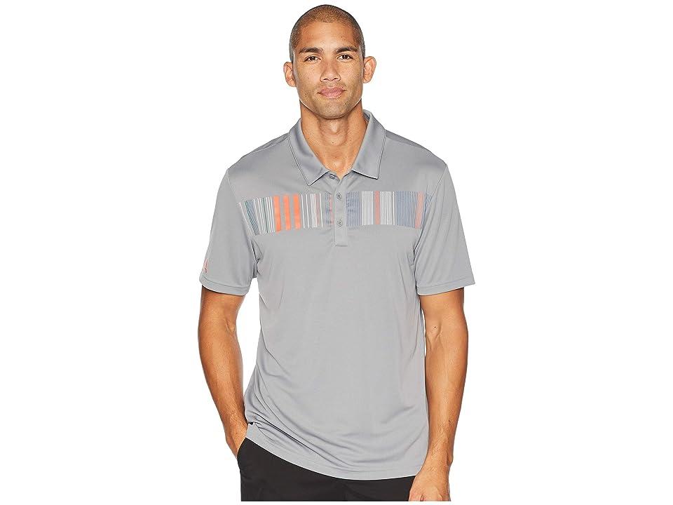 adidas Golf Chest Stripe Polo (Grey Three) Men