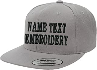 (More Color) Yupoong Snapback Hat Custom Flat Embroidery Cap Personalized Name Text Flat Bill Wool