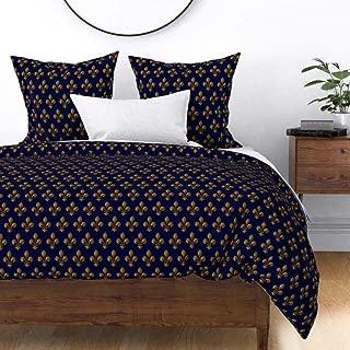 Roostery Duvet Cover, Fleur De Lis Blue Gold French Lily Renaissance Tudor Print, 100% Cotton Sateen Duvet Cover, Queen