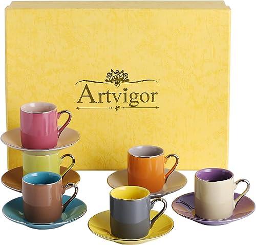 Artvigor 6 Sets 80ml Tasse à Café Expresso avec Soucoupes Service à Thé en Porcelaine Multicolore pour 6 Personnes Pa...