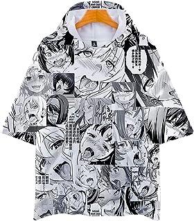 Men's 3D Print Ahegao Anime Face Shirt Couple Funny Short Sleeve T-Shirt Cosplay Adult Tops