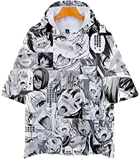 Men's 3D Print Ahegao Anime Face Shirt Couple Funny Short Sleeve T-Shirt Cosplay Adult Tops