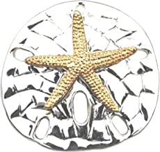 Large 2-Tone Textured Sand Dollar Starfish Pendant Slide Brooch Sea Life Beach Fashion Jewelry Lead-Free