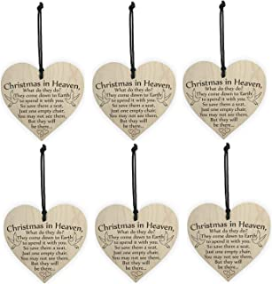 ISKYBOB 6 Pack Christmas in Heaven Novelty Wooden Hanging Heart Plaque Friendship Sign Ornament