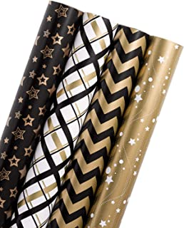 WRAPAHOLIC Gift Wrapping Paper Roll - Black Gold Design for Birthday, Holiday, Baby Shower Gift Wrap - 4 Rolls - 30 inch X 120 inch Per Roll
