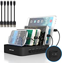 Multi Device Charging Station MSTJRY USB Charging Dock Switch Cell Phone 5 Port Charging Station Multiple Devices(Black, 5 Short Cables Included)