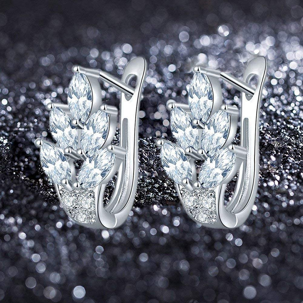 KIA MIA Crystals from Swarovski Leafy Fashion Rhodium Plated Crystal Clip On Earrings for Women and Girls