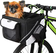 Lixada Bike Basket, Small Pet Cat Dog Carrier Bike Handlebar Front Basket - Folding Detachable Removable Easy Install Quick Released Cycling Picnic Shopping, Max Bearing: 15 lbs
