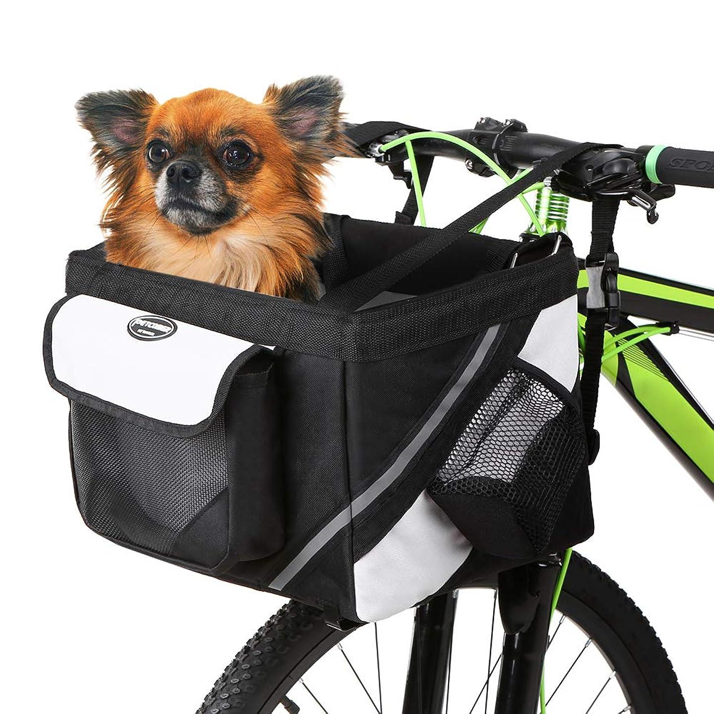 キャメル孤独な理容室Lixada 自転車用バスケット ペット 猫 犬 キャリア 自転車 ハンドルバー フロントバスケット - 折りたたみ 取り外し 取り付け簡単 クイックリリース ピクニック ショッピングバッグ ベアリング:22ポンド