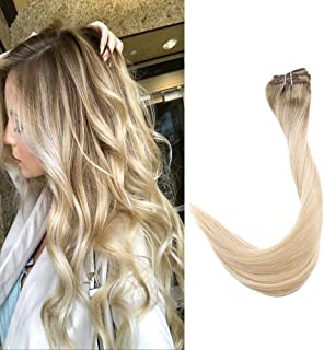 Full Shine 14 inch Clip in Balayage Remy Hair Extensions 100 Gram 7Pcs Per Set 100% Remy Human Hair Extensions Color #6 Fading to #27 Honey Blonde and #60 White Blonde Clip in