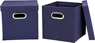 Household Essentials 33-1 Decorative Storage Cube Set with Removable Lids | Navy | 2-Pack