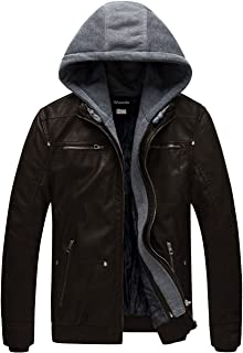Wantdo Men's Faux Leather Jacket Removable Hood