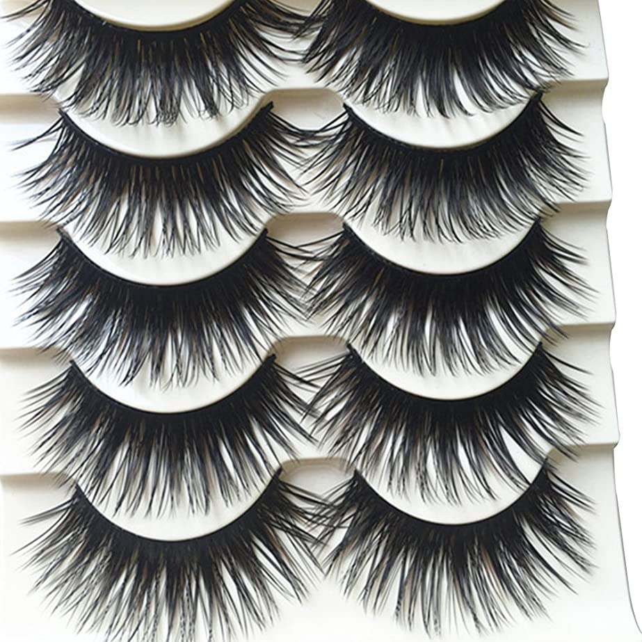 する取得するモザイクhamulekfae-5ペア多彩なブラウン誇張濃密付けまつ毛one