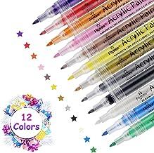 Acrílico Pintura Rotulador Rotuladores de Pintura Acrilica rotuladores 12 Colores, para Marcadores para Pintura de Tela, Cristal, Metal, Ceramica, Madera,Plastico, álbum de Fotos y Manualidades