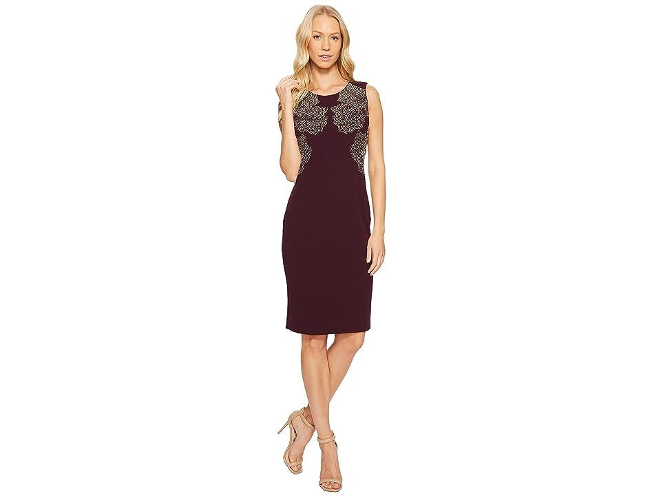 Calvin Klein Sheath Dress with Floral Studs (Aubergine) Women
