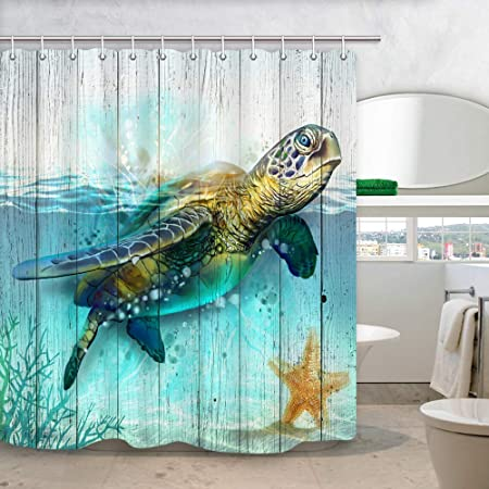 1 Polyester Fabric Bath Curtain /& 1 Bath Rug /& 1 Toilet Mat /& 1 Toilet Pad Cover Rustic Wood Plank Kids Bathroom Accessory 4 Pcs Set DYNH Watercolor Sea Turtle Shower Curtains with Rug Set