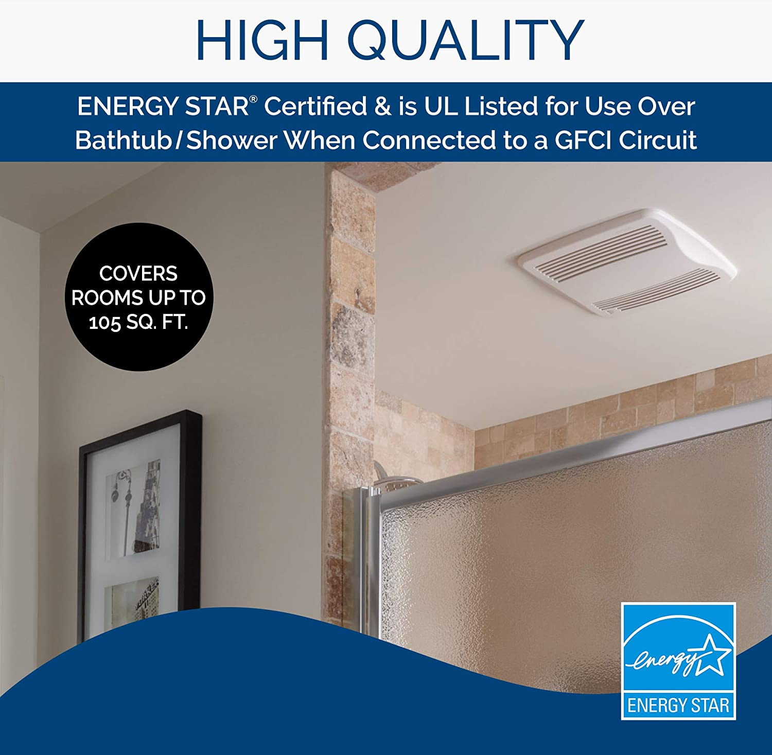 """Broan-Nutone QTXE110S Ultra-Silent Humidity-Sensing Ventilation Fan, Exhaust Fan for Bathroom and Home, ENERGY STAR Certified, 0.7 Sones, 110 CFM , White , 6"""" Round"""