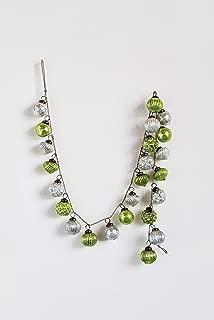 Creative Co-op Silver & Green Glass Bead Garland, Green