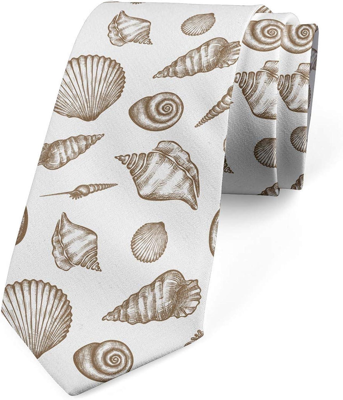 Ambesonne Necktie, Hand Drawn Seashell Motifs, Dress Tie, 3.7