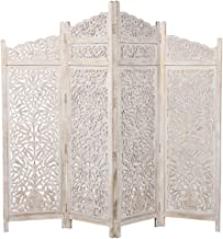 Homes r us 4-Panel Screen in Carved Wood, White - 205 x 2.5 x 183 cms