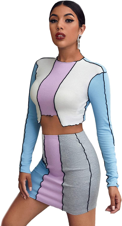 SweatyRocks Women's Long Sleeve Rib Knit Colorblock Crop Tee and Skirt Set