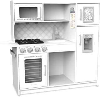 """Melissa & Doug Wooden Chef's Pretend Play Toy Kitchen With """"Ice"""" Cube Dispenser – Cloud White"""