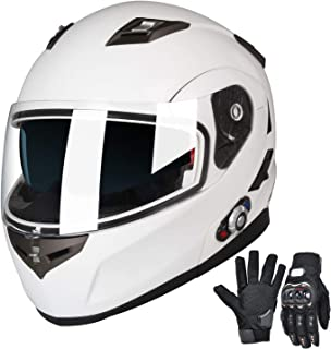 FreedConn Bluetooth Motorcycle Helmets Speakers Integrated Modular Flip up Dual Visors Full Face Built-in Bluetooth Mp3 Intercom headset Communication Range 500M (M,White)