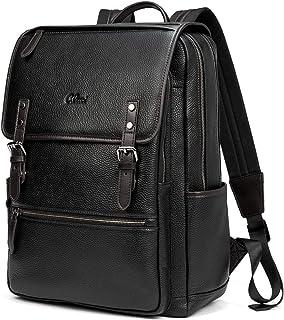 CLUCI Herren Rucksack Echtleder Laptoptasche für 15.6 Zoll oder unter Groß Businesstasche Vintage Reisetasche Schultertasche Schwarz