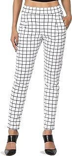 TheMogan Elasticated Waist Trousers Mid Rise Slim Tapered Leg Ankle Pants