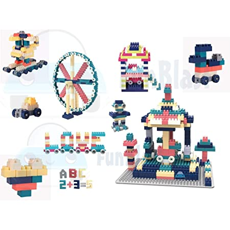 FunBlast DIY Building Blocks for Kids, Building Blocks with Baseplate - Learning and Education Toys for Kids- 100+ Pcs -Multicolor