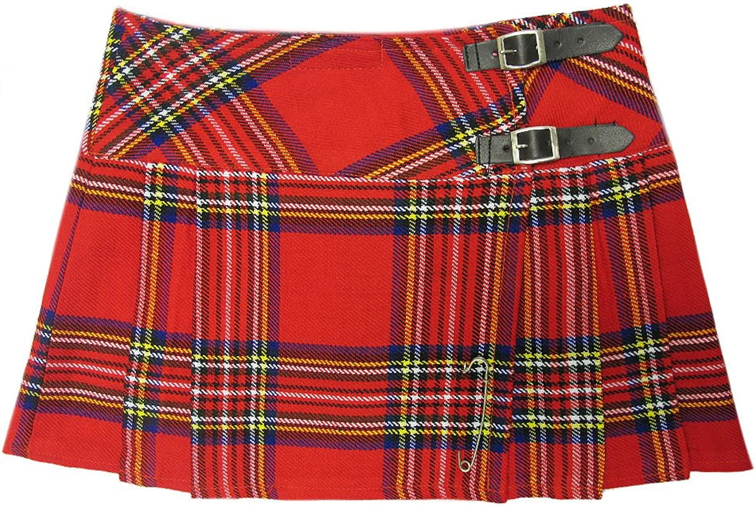 Womens Red Plaid 13  Wraparound Leather Straps Mini Kilt Skirt  Free Pin