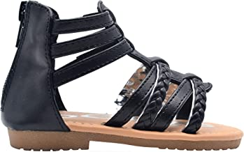 bebe Girls Toddler/Little Kid Strappy Ankle High Back Zipper Gladiator Sandals With Braided Accent