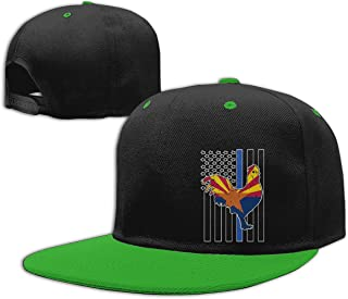 Arizona Flag Rooster Blue Thin Line Flag-1 Mens Womens Snapback Baseball Cap Adjustable Flat
