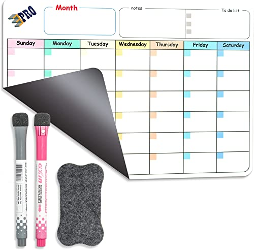 Magnetic Dry Erase Refrigerator Calendar by EPRO, Large Calendar Whiteboard Monthly Planner - 2 Fine Tip Markers and ...