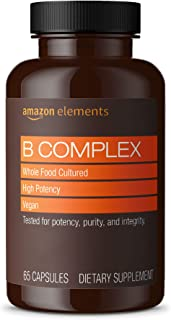Amazon Elements B Complex, High Potency, 83% Whole Food Cultured, Supports Immune and Normal Energy Metabolism, Vegan, 65 ...