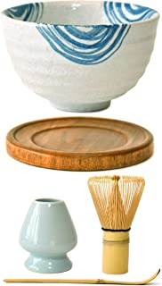 Premium Japanese Ceremonial Matcha Green Tea Chawan Bowl Full Kit Set with Accessories and Tools Bamboo Chasen Matcha Whisk Scoop and Holder (Blue Rings)