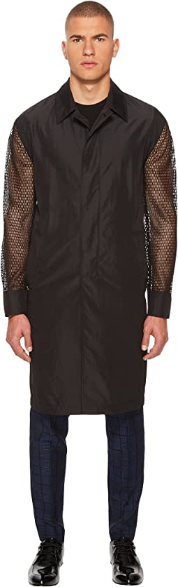 Mesh Sleeve Trench Coat