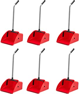 AmazonCommercial Jumbo Lobby Dustpan - 6-Pack, red