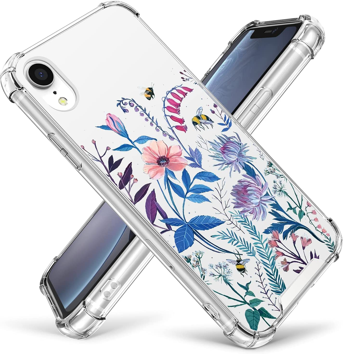 Cutebe Case for iPhone XR, Shockproof Series Hard PC+ TPU Bumper Protective Case for Apple iPhone XR 6.1 Inch 2018 Release Crystal